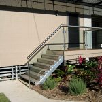 External staircase with aluminium safety rail