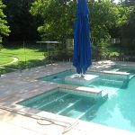 Swimming Pool with glass pool safety fence